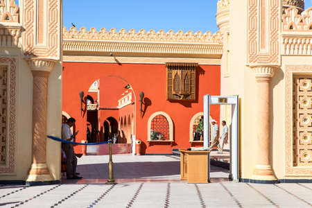 alf: HURGHADA, EGYPT - CIRCA NOV, 2015: Entrance with metal detector frame is in the Egyptian hotel. The Alf Leila Wa Leila spa (1001 Nights) is one of the Pickalbatros chain spas in Hurgada resort