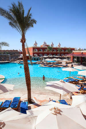 alf: HURGHADA, EGYPT - CIRCA NOV, 2015: Palm tree is on the Egyptian hotel poolside. The Alf Leila Wa Leila spa (1001 Nights) is one of the Pickalbatros