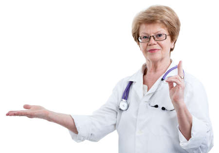 outstretched hand: Woman doctor showing with outstretched hand towards, isolated on a white background