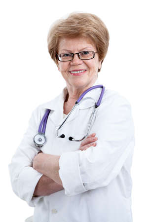damas antiguas: Portrait of confident happy senior woman in doctor uniform, looking at camera, isolated on white background