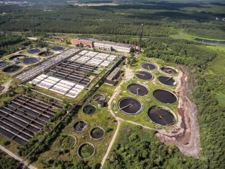 Aerial view at large sewage treatment plant for disposal of small volumes of industrial wastewater. Stock Photo