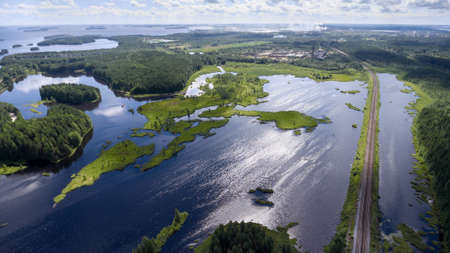 river: Panorama of lakes and forests of Karelia with the railway passing to the town of Segezha, Karelia, Russia