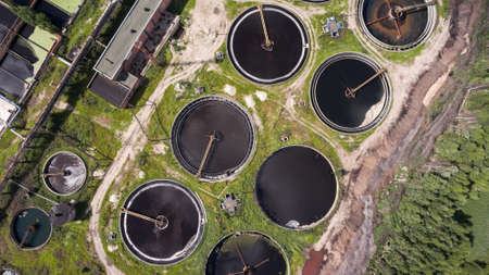 effluent: Group of clarifiers is in industrial wastewater treatment plant. Top view
