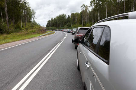 checkpoint: The queue of cars to Finland at the Russian-Finnish border, checkpoint Brusnichnoe