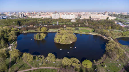 petersburg: Ponds for riding on rowing boats in the South-Primorsky park. Aerial view. Peterhof Highway, St. Petersburg, Russia Stock Photo