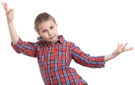 throw up: Dancing young girl with throw up her hands, isolated white background Stock Photo
