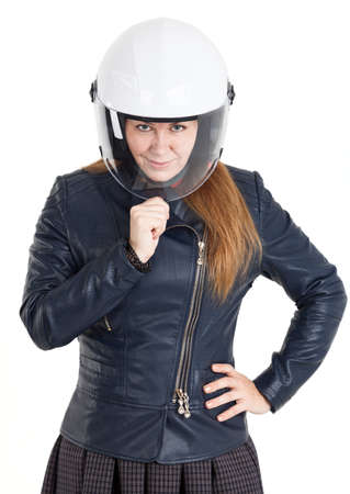 a helmet: Woman motorcyclist in leather jacket and white helmet shell with closed visor, isolated on white background