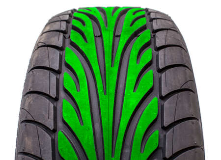 tread pattern: Wet weather tire with green color tread in the middle of contact area pattern, isolated on white background