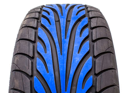 tire tread: Wet weather tire with blue color tread in the middle of contact area pattern, isolated on white background