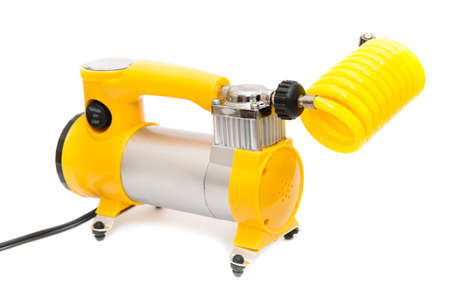 compresor: Yellow automobile compressor isolated on white background