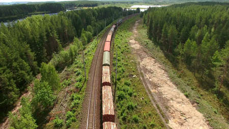 wood railroad: Cars of freight train passing to a distance at the double line railway in forests of Karelia, Russia. Aerial rear view