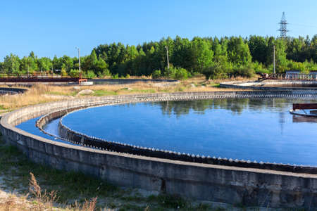 Large round clarifier for removal biological sediment from sewage water, treatment plant
