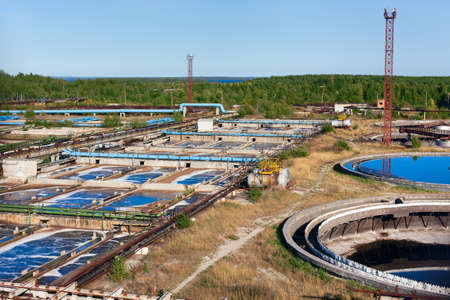 water treatment plant: Large sewage treatment plant for disposal of small volumes of industrial wastewater Stock Photo