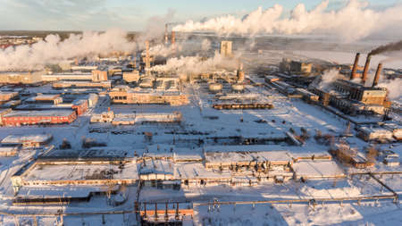 Aerial view at the territory of Pulp and Paper mill in Segezha town, republic of Karelia, Russia