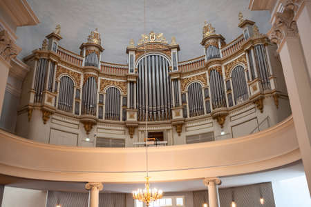 halls: HELSINKI, FINLAND — CIRCA SEP, 2016: Huge pipe organ is in Helsinki Cathedral. Facade of organ was designed by architect, Lohrmann. Interior of Finnish Evangelical Lutheran church Editorial