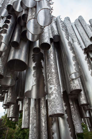 sibelius: HELSINKI, FINLAND — CIRCA SEP, 2016: Close up view at Sibelius Monument. It consists of series of more than 600 hollow steel pipes welded together in wave-like pattern.