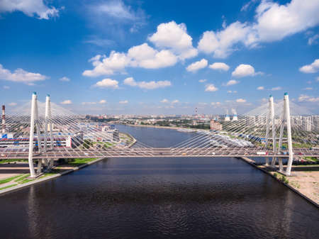 ST. PETERSBURG, RUSSIA, CIRCA MAY, 2016: Panorama of the Big Obukhovsky Bridge across Neva river. Aerial side view. The Nevsky district Editorial