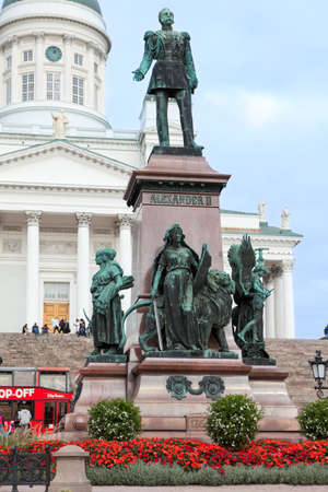 aleksander: HELSINKI, FINLAND - CIRCA SEP, 2016: Statue of Emperor Alexander II is on the Senate Square on the background of Saint Nicholas Cathedral. Attractions of Helsinki