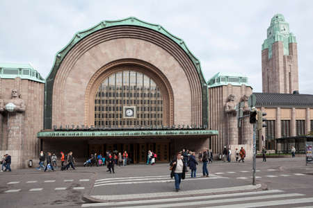 railway transport: HELSINKI, FINLAND - CIRCA SEP, 2016: Building of Helsinki Central railway and metro station is in the Kluuvi. It is the focal point of all urban public transport
