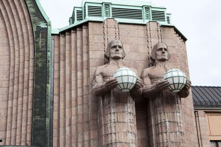 railway transport: HELSINKI, FINLAND - CIRCA SEP, 2016: Details of facade of building of Helsinki Central railway and metro station. It is the focal point of all urban public transport in the Kluuvi Editorial