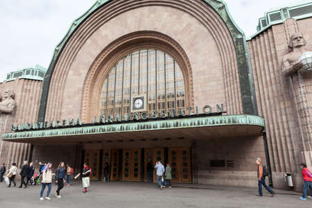railway transport: HELSINKI, FINLAND - CIRCA SEP, 2016: Entrance of Helsinki Central railway and metro station is in the Kluuvi. It is the focal point of all urban public transport
