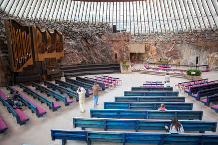 HELSINKI, FINLAND - CIRCA SEP, 2016: Interior of the Finnish church Temppeliaukio. The temple is carved into the rock. It is the Lutheran church in the Toolo, neighborhood of Helsinki Editorial