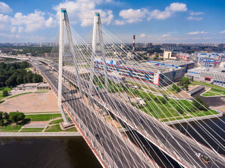 slings: ST. PETERSBURG, RUSSIA, CIRCA MAY, 2016: View of pylons and slings of cable-stayed bridge. The Big Obukhov bridge is across the Neva river. The Nevsky district Editorial
