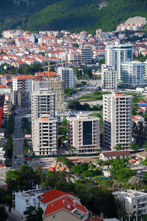 BUDVA, MONTENEGRO - CIRCA JUN, 2016: The central part of the contemporary city of Budva with hotels and high-rise buildings. Aerial view. Europe