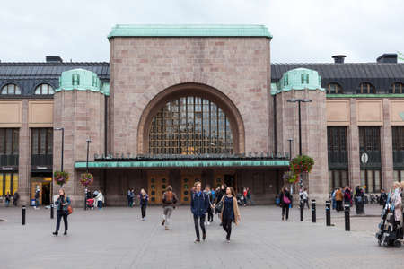 railway transport: HELSINKI, FINLAND - CIRCA SEP, 2016: Building with entrance of Helsinki Central railway and metro station is in the Kluuvi. It is the focal point of all urban public transport