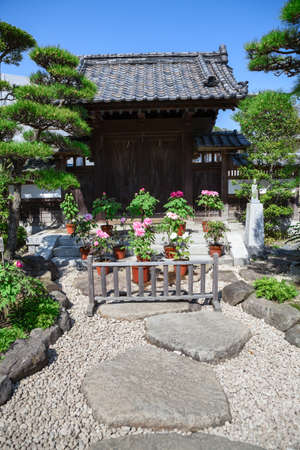 KAMAKURA, JAPAN - CIRCA APR, 2013: Spring garden with blooming flowers and trees is in the Hasedera shrine. The Hase-kannon (Hase-dera) is one of the Buddhist temples in the Kanagawa Prefecture