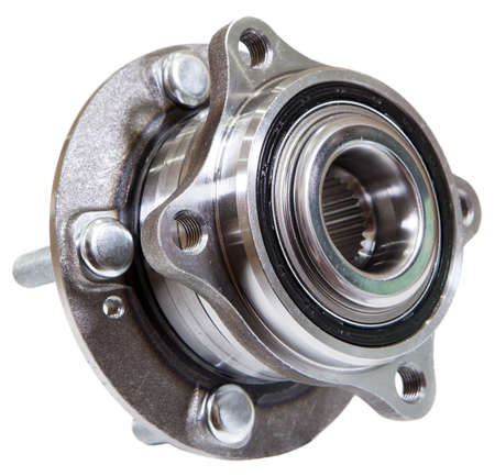 New hub bearing unit for front or rear wheel of car, isolated on white background
