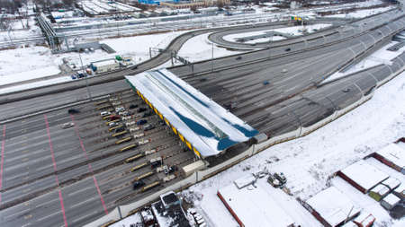tollway: Panorama of intersections and exits of Western High-Speed Diameter in Kubinskaya street. St. Petersburg city, Russia. Aerial view from drone