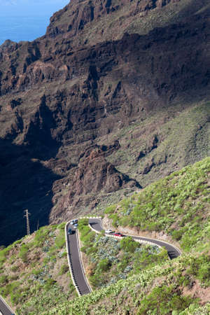 steep: TF-436 is a short mountain zig-zag road located in the Macizo de Teno mountains, in the western part of the island Tenerife, Canary Islands, Spain. Starts in Masca and finishes in Santiago del Teide