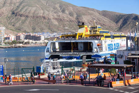 LOS CRISTIANOS, TENERIFE, CANARY, SPAIN -  CIRCA JAN, 2016: The Fred Olsen Express ferry boat moors in city port. Maritime links is for connecting the seven islands of the Canary archipelago Editorial