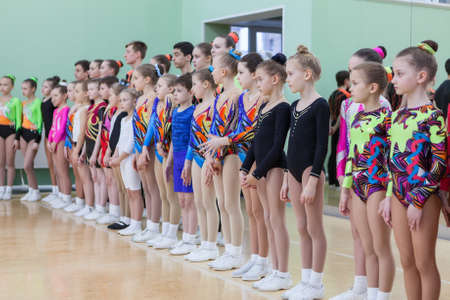 ST. PETERSBURG, RUSSIA - CIRCA APR, 2017: Young children the athletes stand in line at the victory ceremony.