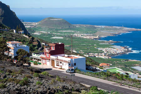 EL TANQUE, TENERIFE, SPAIN - CIRCA JAN, 2016: Mountain hairpin road TF-421 passes through the village when connects TF-82 and TF-42 routes. It is short way to Garachico town from TF-82.