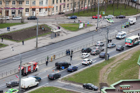 exceeding: ST.PETERSBURG, RUSSIA-CIRCA MAY, 2017: Car accident is on Leninsky avenue. Crash between three cars due the high speed. No one was injured. The jam is during emergency services working