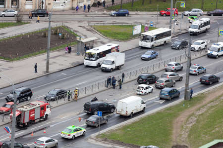 exceeding: ST.PETERSBURG, RUSSIA-CIRCA MAY, 2017: Car accident is on avenue. Crash between two cars is on the high speed. No one was injured. The jam is during emergency services working Editorial
