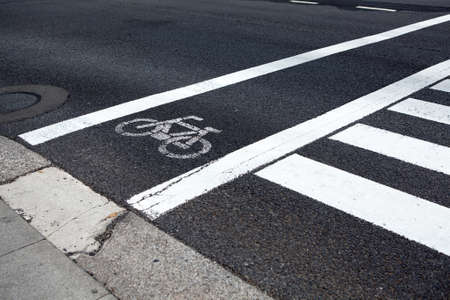 Bike lane along pedestrian road crossing, close up view at white painted marks