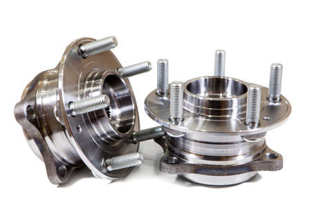 Two steel ball-bearing hub for automobile wheel isolated on white background