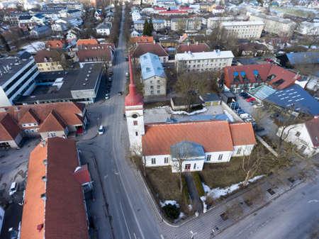 Kuressaare Saint Lawrence church building. Aerial view. Saaremaa island, Estonia, Europe