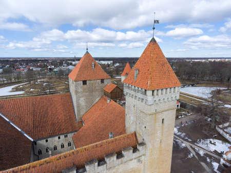 Defence towers of Kuressaare Fortress with weather vane. Spring. Medieval fortification in Saaremaa island, Estonia, Europe