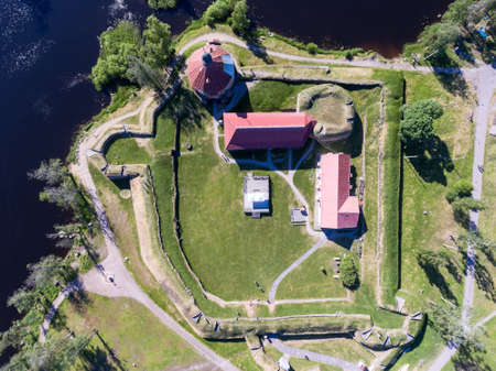 Top view at the Korela fortress with walls, buildings and inner yard. Korela the ancient Karelian fortification was build in Priozersk (Kakisalmi in Finnish) town. North Russia Standard-Bild - 116619295