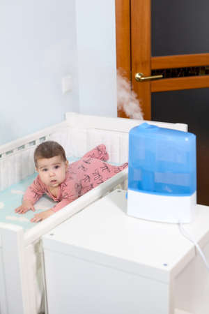 The blue ultrasonic humidifier can function as a room moisturizer or as an air freshener for baby comfort sleeping