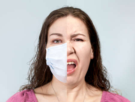Two halves portrait of an Caucasian adult woman with medical mask and disgust on the face under mask. Supposition of real emotion while wearing mask. Grey background