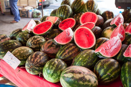 Ripe juicy watermelons on a market stall in Turkey