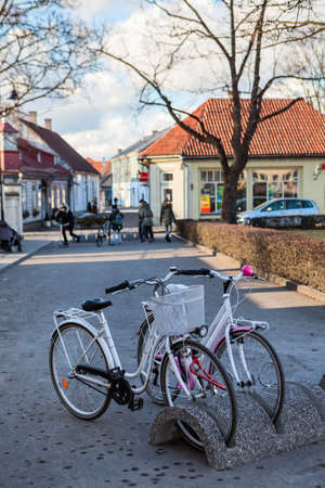 Bicycle parking station with bikes is in center of the Kuressaare town at winter season, Estonia. Europe