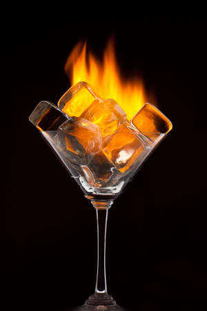 freeze: Fire and ice cubes in the glass