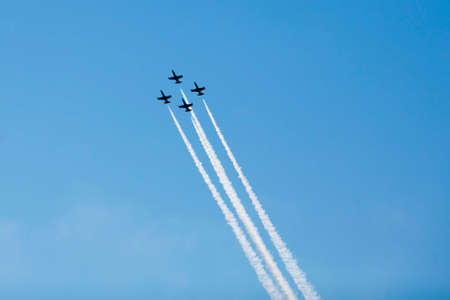 Group of jets in the sky