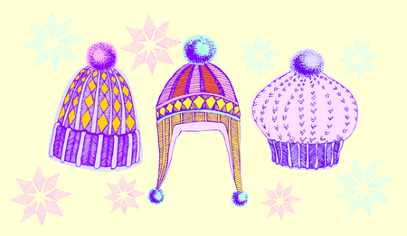 winter hat: vector illustration. set of winter hats
